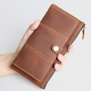 Genuine Leather Bifold Wallet Casual Vintage 10 Card Slots Card Pack Purse For Men