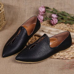 Large Size Pointed Toe Slip On Hollow Out Vintage Flat Casual Shoes