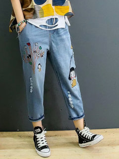 Cartoon Patch Vintage Denim-Hose mit elastischem Bund und Harem