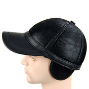 Men PU Leather Baseball Cap Polo Hat Black Earflap Earmuffs Snapback Hat
