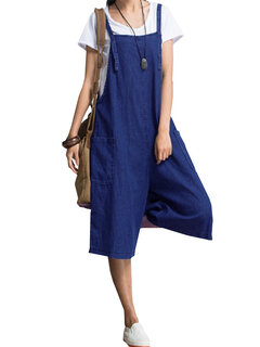Vintage Straps Denim Plus Size Rompers for Women
