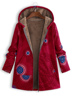 Ethnic Print Fleece Zipper Loose Hooded Coat