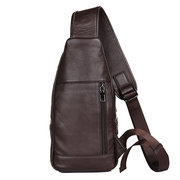 Genuine Leather Chest Bag Casual Vintage Sling Bag Crossbody Bag For Men