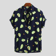 Mens Funny Avocado Printed Turn Down Collar Short Sleeve Casual Shirts