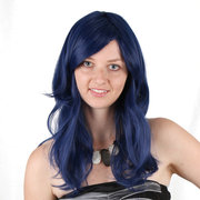 Blue Long Wave Synthetic Wigs Cabelo de fibra de alta temperatura para mulheres Cosplay Party