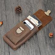 Sac à bandoulière vintage en cuir véritable Portable 6 pouces sac de téléphone sac de taille pour les hommes