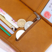 Genuine Leather Pure Color Multi-function Long Wallet For Men