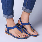 Large Size Comfortable Elastic Band Clip Toe Flat Beach Sandals