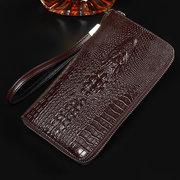 Cartera larga del bolso de embrague de la bolsa del teléfono de la vendimia del cuero genuino para los hombres