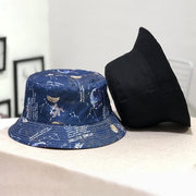 Double-sided Wearing Coconut Tree Pattern Fisherman Hat Casual Sunshade Cap