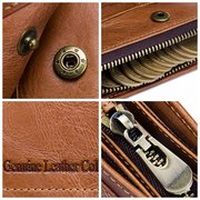 Large Capacity Genuine Leather Removable Zipper Pocket Trifold Wallet For Men
