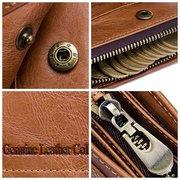 Portefeuille zippé à trois volets en cuir véritable à grande capacité pour homme