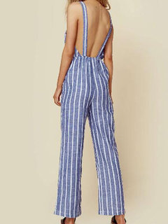 Casual Striped Straps Jumpsuit With Pockets