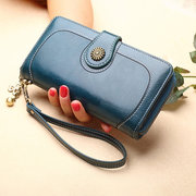 Women Trifold Oil Wax Leather Long Purse Solid Vintage Phone Bag 13 Card Holder Clutch Bag