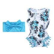 2Pcs Floral Printed Comfy Cotton Baby Romper Headband Set For 0-24M