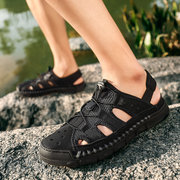 Men Hand Stitching Non Slip Large Size Splicing Soft Sole Leather Sandals
