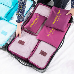 6Pcs Waterproof Travel Bags Clothes Pouch Nylon Luggage Organizer Travel Bag