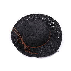 Women Solid Mesh Pattern Wide Brim Breathable Adjustable Comfortable Fashion Straw Hat