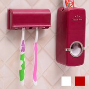 Wall Mounted Automatic Toothpaste Dispenser With Five Toothbrush Holder Set Bathroom Family Sets