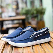 Men Pure Color Canvas Slip On Soft Casual Trainers