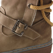 Pu Buckle Lace Up Warm Boots