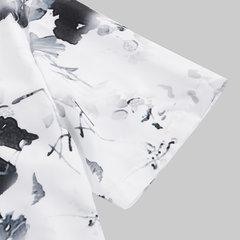 Мужская Китайский Стиль Пейзажной Чернил Печати С Коротким Рукавом Свободные Повседневная Рубашка