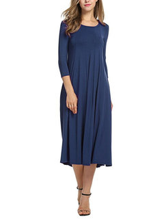 Casual Brief Solid Color O-Neck 3/4 Sleeve Women Dresses