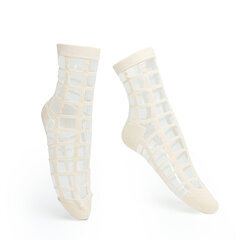 Women Ultra-Thin Transparent Plaid Grid Crystal Silk Mesh Lace Ankle Socks