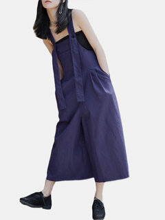 Casual Solid Color Straps Loose Jumpsuit with Pockets