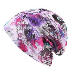 Women Lace Print Art Beanies Cap Outdoor Multi-function Windproof Scarf Collar Hair Hat