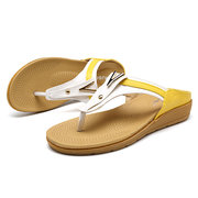 Women Bohemia Comfy Flat Metal Decoration Flip Flops Sandals Beach Shoes