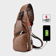 Bolsa Masculina de Peito com Porta de Carregamento USB de Viagem