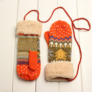Knitted Crochet Full Fingers Cotton Gloves Thickened Rope Mittens
