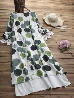 Vintage Polka Dot Patchwork Pocket V-neck Plus Size Maxi Dress