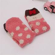 Embroidery Fuzzy Coral Fleece Cute Cartoon Pattern Socks Hosiery Floor Socks