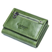 Women Trifold Genuine Leather Vintage Solid Wallet 7 Card Slot Large Capacity Solid Purse