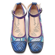 SOCOFY Bohemia Genuine Leather Splicing Colorful Geometric Pattern Comfortable Buckle Strap Pumps