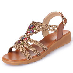Beaded Knitted Bohemia Buckle Flat Casual Sandals