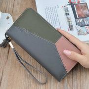 Femmes coutures de couleur multi-fentes longues portefeuilles titulaire de la carte 5,5 pouces téléphone sac