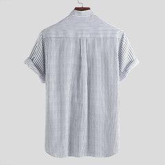 Mens Classic Listrado Respirável Gola Manga Curta Casuais Camisas Soltas