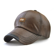 Men PU Leather Vintage Baseball Cap Casual Outdoor Adjustable Warm lightness Hats