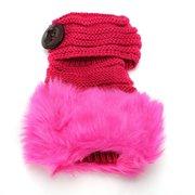 Crochet Knitted Fingerless Keyboard Gloves Half Finger Button Decorative Fur Mittens