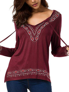 Casual V-neck Embroidery Long Sleeve Blouse for Women