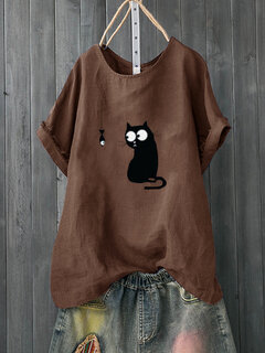 Cartoon Print Cute Short Sleeve Casual T-Shirt