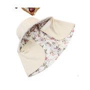 Women Outdoor Gardening Face Neck Sunscreen Wide Brim Beach Hat Double-side Flower Printed Caps