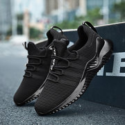 Large Size Men Knitted Fabric Breathable Running Casual Sneakers
