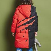 Chaqueta de manga larga de algodón con capucha de invierno para niñas de 4-15 años