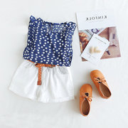 Girls Chiffon Floral Vest + Shorts Two-Piece Set For 2-9Y
