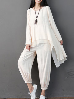Solid  Irregular Long Sleeve Blouses and Loose Pants