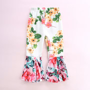 Flower Print Girls Comfy Flare Pants For 1-7Y